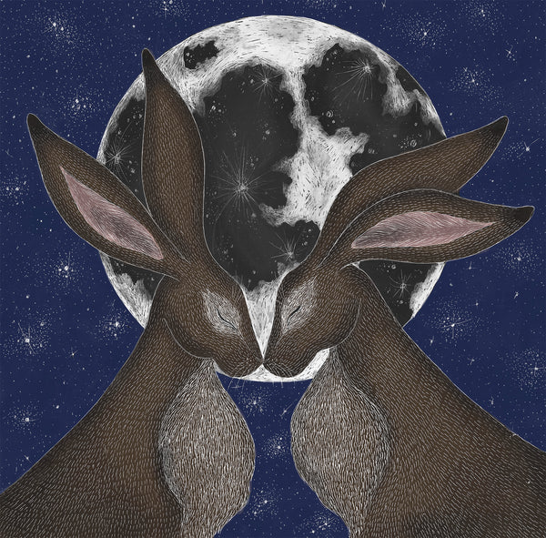 Moon Hares Print