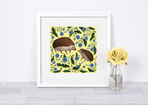 Mother & Baby Hedgehogs - Signed Fine Art Print