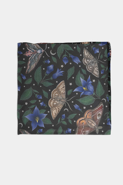 Moths Pattern Chiffon Scarf - 100% Silk or Vegan Silk