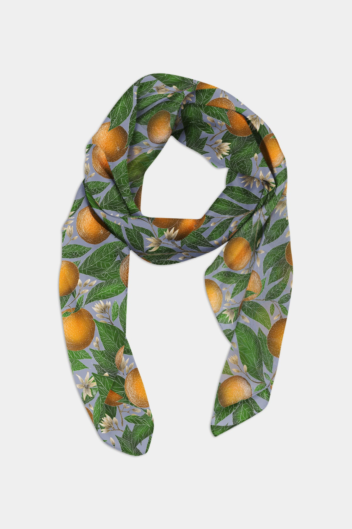 Orange Blossom Pattern Chiffon Scarf - 100% Silk or Vegan Silk