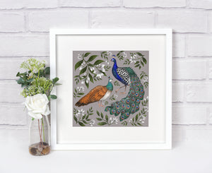 Peacock & Peahen Print