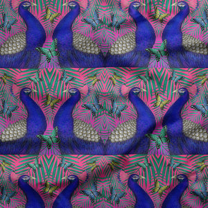 Peacocks and Butterflies Pattern Fabric
