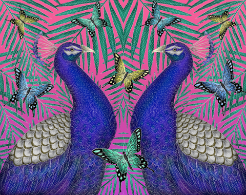 Peacocks and Butterflies Print