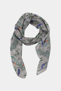 Peacocks Pattern Chiffon Scarf - 100% Silk or Vegan Silk