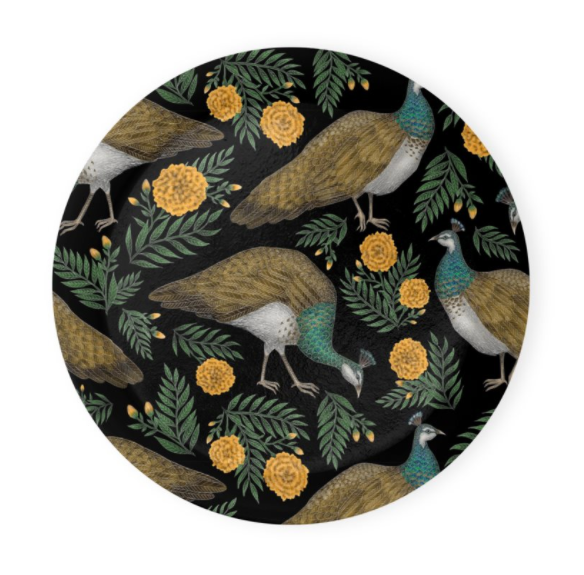 Peahen Pattern Coaster Set of 4 - Made to Order in London