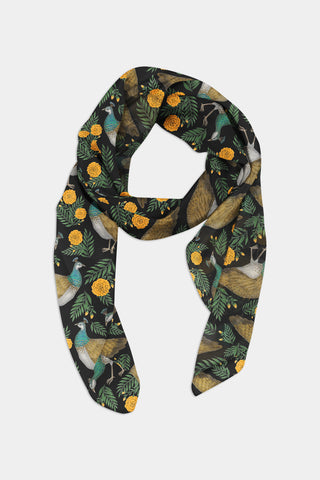 Peahens and Marigolds Pattern Chiffon Scarf - 100% Silk or Vegan Silk