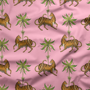 Tiger & Palm Pattern in Florida Pink Fabric