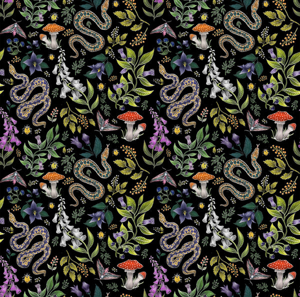 Poison Pattern in Midnight Black Wallpaper