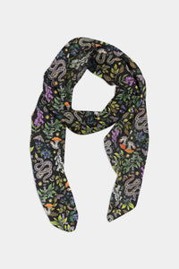 Poisonous Pattern in Midnight Chiffon Scarf - 100% Silk or Vegan Silk