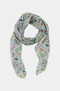 Poisonous Pattern in Eau de Nil Chiffon Scarf - 100% Silk or Vegan Silk