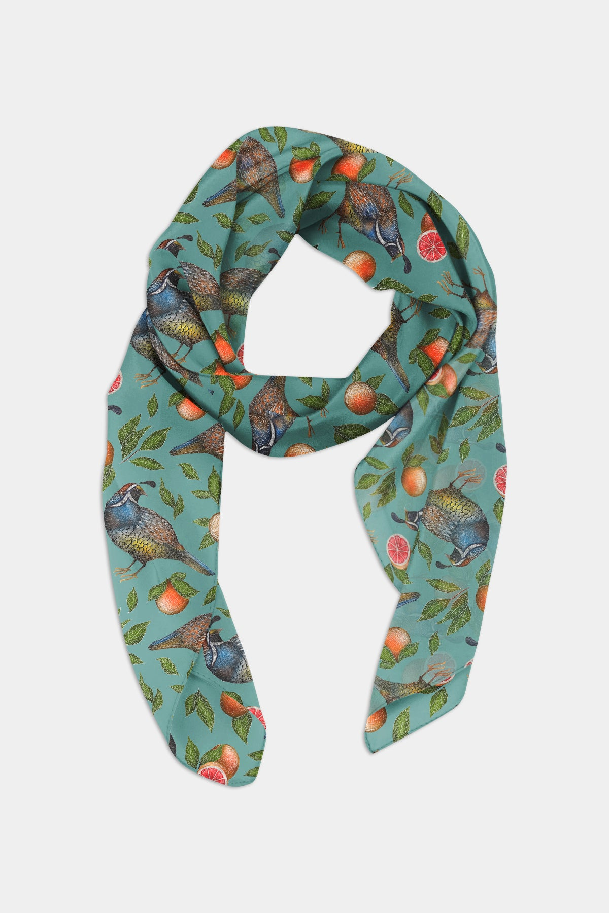 Quails and Grapefruits Chiffon Scarf - 100% Silk or Vegan Silk