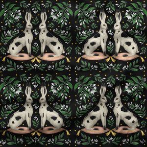China Rabbits and Stars Fabric