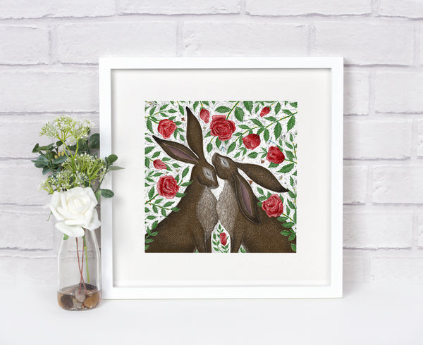Hares & Red Roses Print