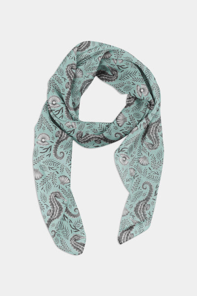 Seahorse Pattern in Seafoam Chiffon Scarf - 100% Silk or Vegan Silk