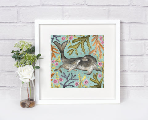 Mother & Baby Seals - Signed Fine Art Print