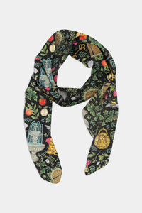 Secret Garden Pattern Chiffon Scarf - 100% Silk or Vegan Silk