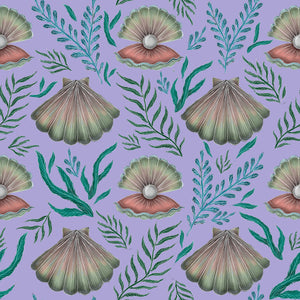 Shell with Pearl Pattern in Lilac Wallpaper