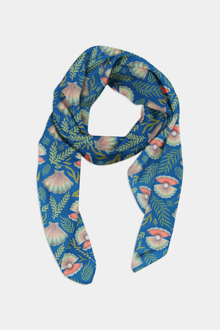 Shell Pattern in Deep Blue Chiffon Scarf - 100% Silk or Vegan Silk