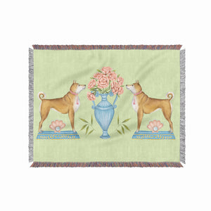 Shiba Dog and Peonies 100% Cotton Woven Blanket Throw