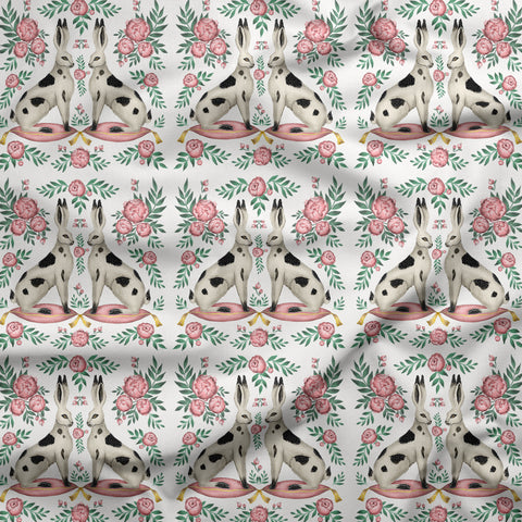Sitting Spotty Rabbits and Peonies Fabric