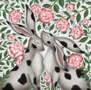Spotty Rabbits and Peonies Print