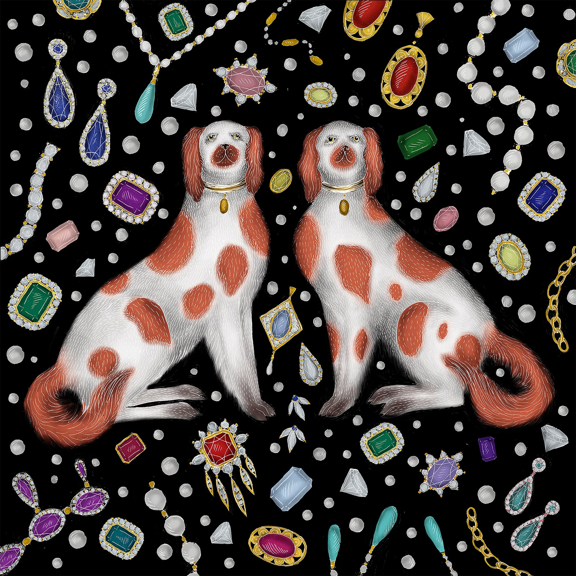 Staffordshire Dogs & Jewels Print