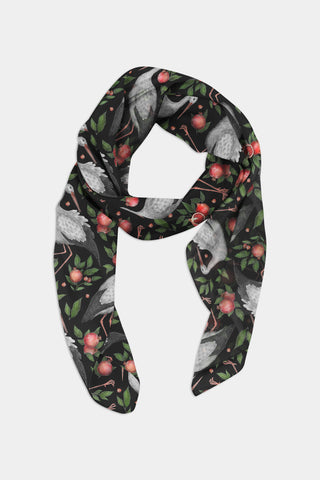 Storks and Pomegranates Pattern Chiffon Scarf - 100% Silk or Vegan Silk