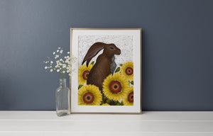 Hare with Sunflowers Print