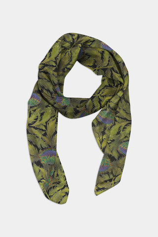 Artichoke Thistle Pattern Chiffon Scarf - 100% Silk or Vegan Silk