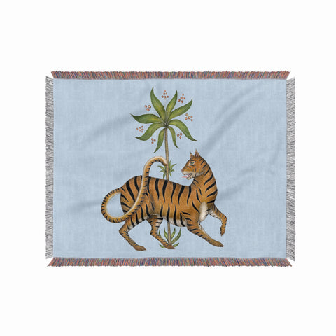 Tiger and Palm 100% Cotton Woven Blanket Throw