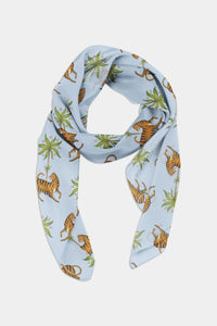 Tiger and Palm Pattern Chiffon Scarf - 100% Silk or Vegan Silk