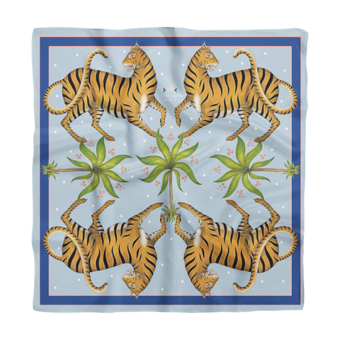 Tigers & Palms in Darjeeling Dusk Silk Scarf - Available in 2 Sizes - 100% Silk or Vegan Faux Silk - Handmade to Order in London