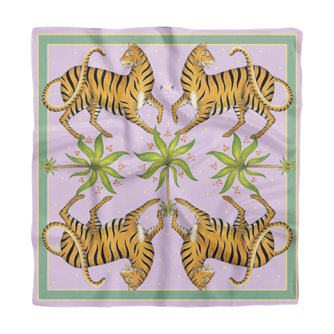 Tigers & Palms in Jaipur Jewel Silk Scarf - Available in 2 Sizes - 100% Silk or Vegan Faux Silk - Handmade to Order in London