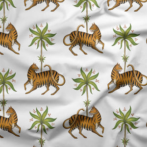 Tiger & Palm Pattern in White Fabric