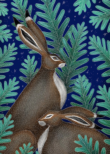 Winter Hares & Christmas Garden Luxury Christmas Charity Pack - 16 Greeting Cards