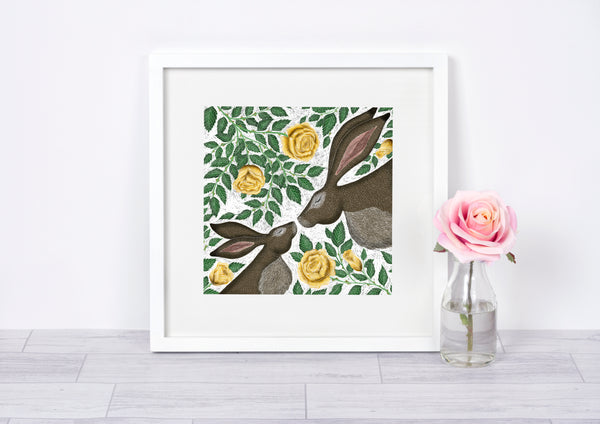 Mother & Baby Hares with Yellow Roses Print