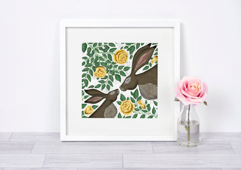 Mother & Baby Hares with Yellow Roses - Signed Fine Art Print