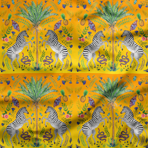 Zebra and Palm Pattern in Sunset Fabric