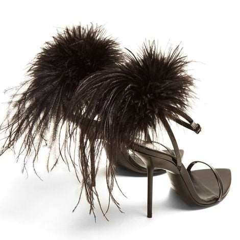Mansour feather-embellished sandals