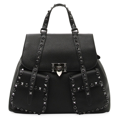 black patent pyramid bag