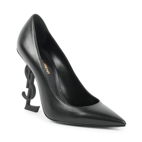 Saint Laurent Opyum Logo Heel Leather Pumps