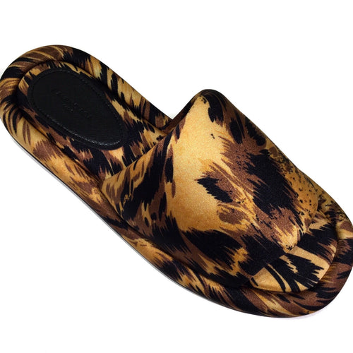 satin slides leopard
