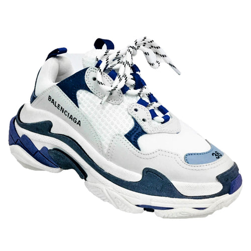 triple S sneakers blue white