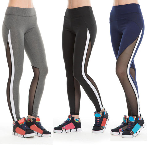 Sports Yoga Pants Mesh Patchwork High Waist