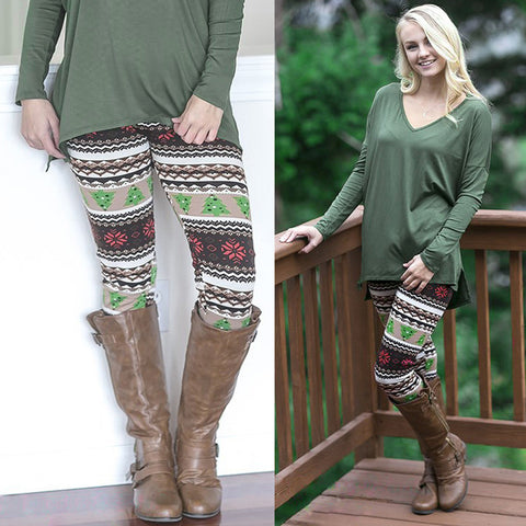 Casual Christmas Tree Print Leggings