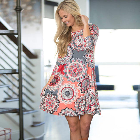 Tara BOHO Mid Sleeve Casual Dress With Pockets