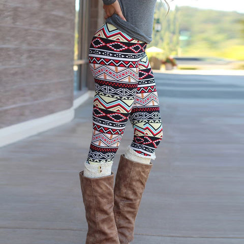 Casual Geometric Print Jegging