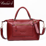 Genuine Leather Top-handle Casual Large Capacity