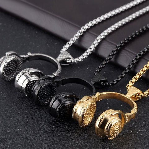 Hip Hop Music Headphone Necklace