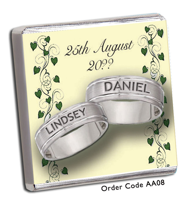 Silver Rings And Green Hearts Anniversary Favour - Chunky Monkey Chocolate